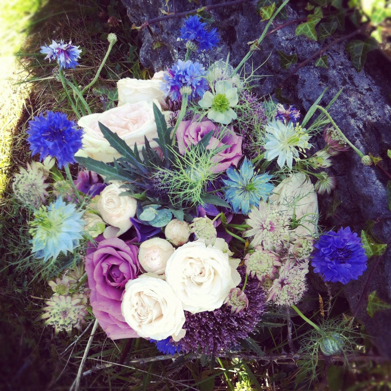 Cool Weather Wedding Flowers: Bridesmaid Bouquet With Nigella,cornflower ,cool Water