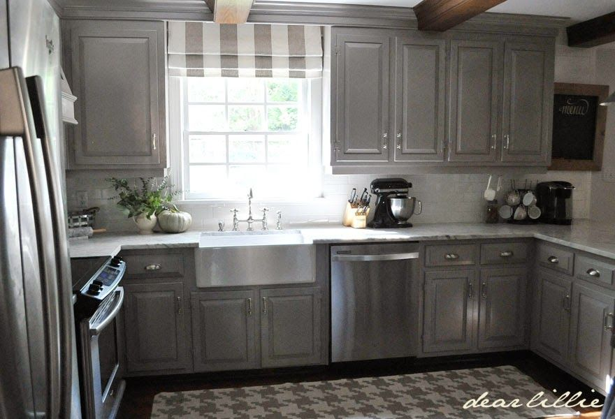 Darker Gray Cabinets and Our Marble Review  by Dear Lillie #graycabinets
