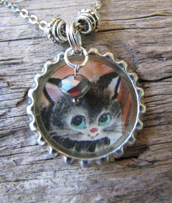 Cat Jewelry Vintage Miss Kitty Charmed Silver by OwlBeJeweled, $13.50