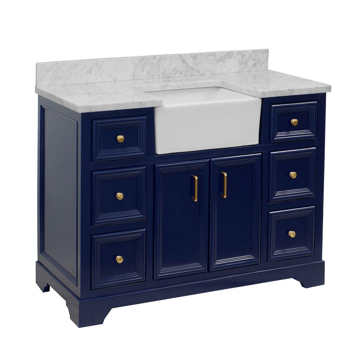 Zelda 48inch Farmhouse Vanity with Carrara Marble Top in