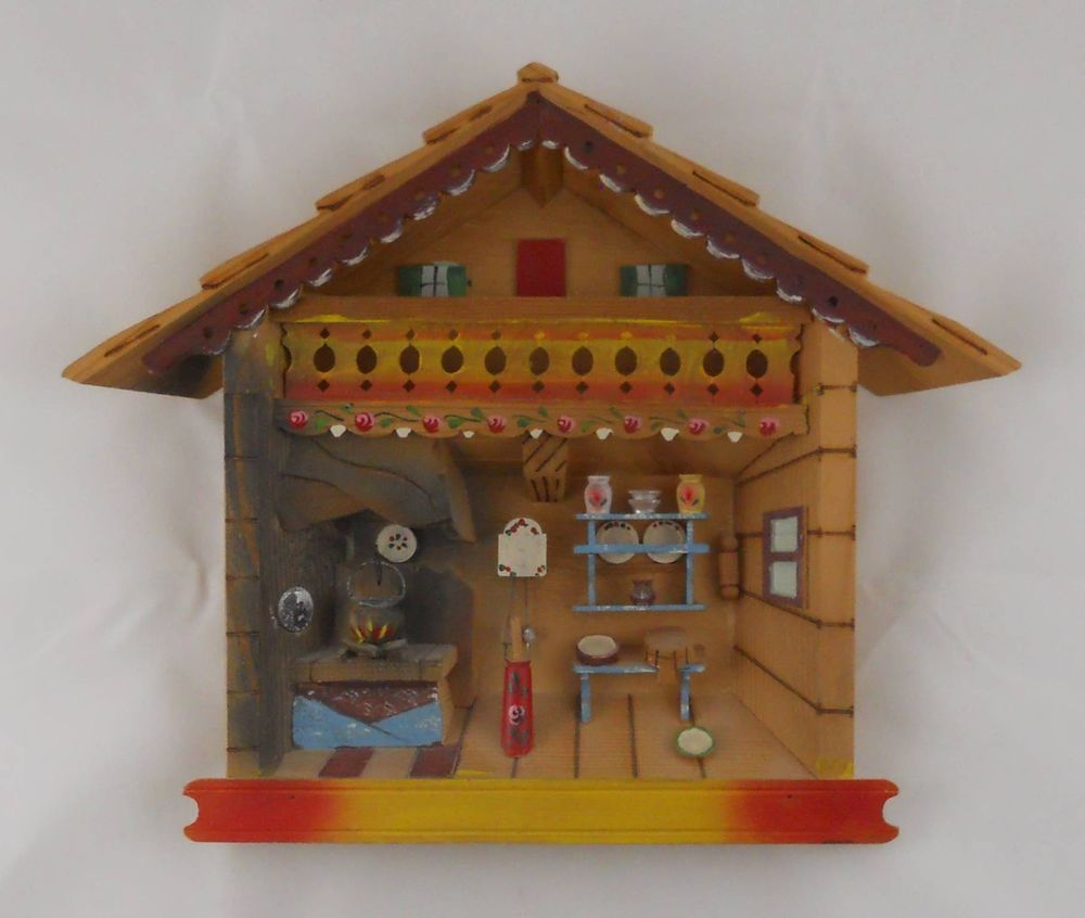 Kitchen Diorama Made Of Cereal Box: Vintage 3D Wood SHADOWBOX Diorama CHALET Kitchen ITALY