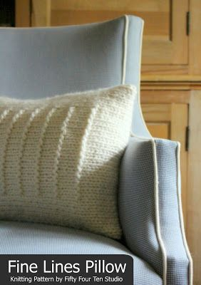 Fifty Four Ten Studio: Fine Lines Pillow knitting pattern. Quick & easy to knit with super bulky yarn.