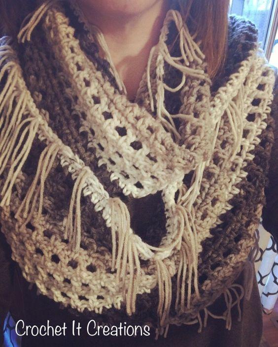 Fringe Infinity Scarf Crochet Pattern Crochet Pattern | Pinterest ...