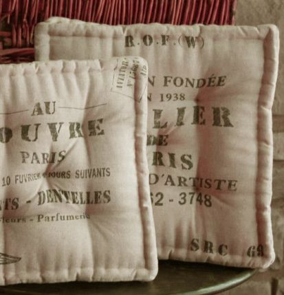 Attractive Feed Sack Chair Cushions {re Purpose From Burlap?