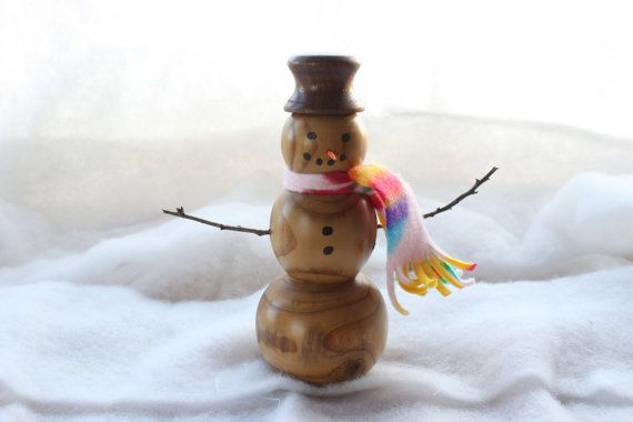 Russian Olive and Black Walnut Hand Turned Snowman $25.00