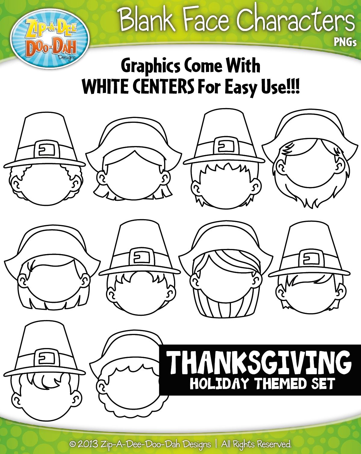 Pilgrims Thanksgiving Blank Face Characters Clipart Zip A
