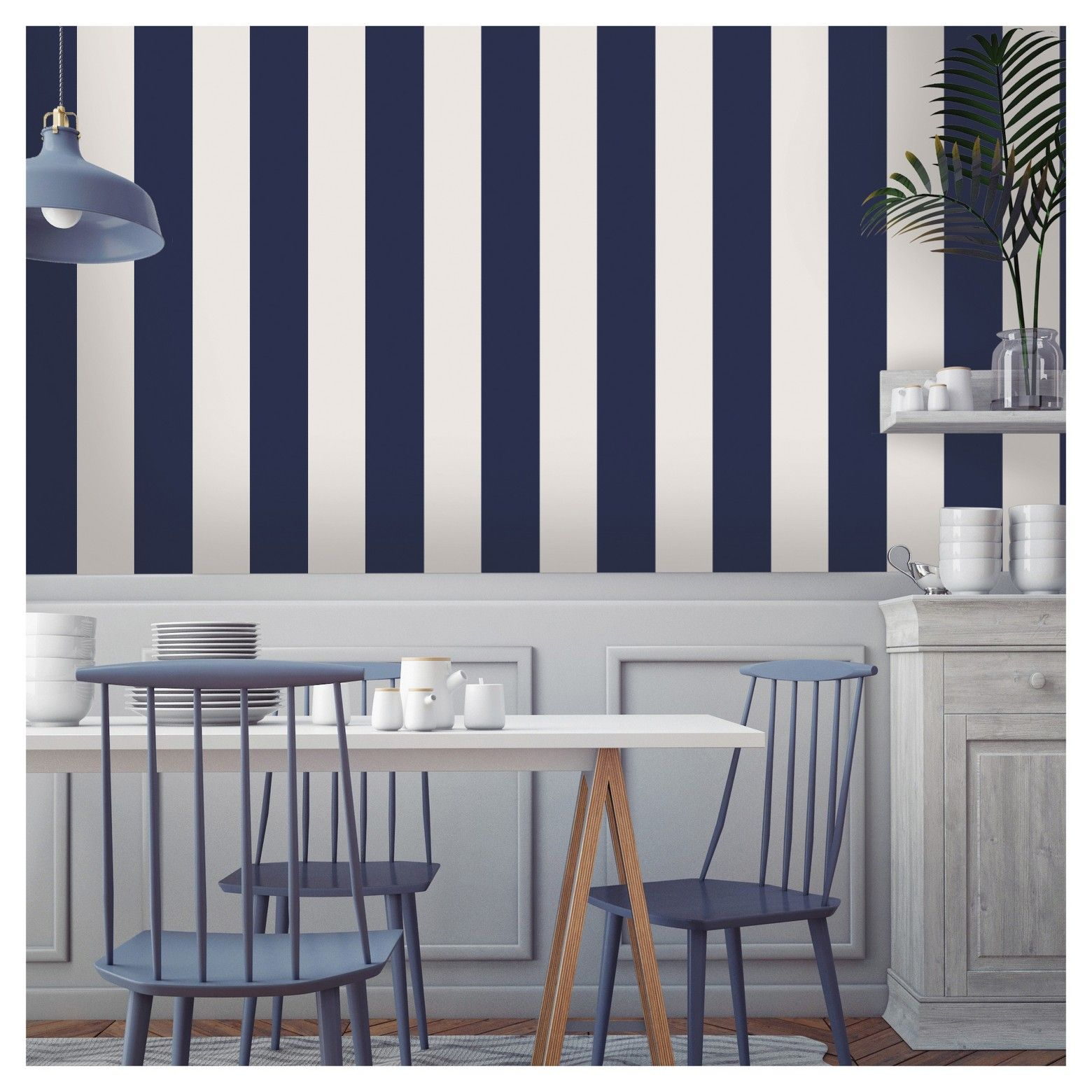 Kitchen wallpaper stripes - Tempaper Self Adhesive Removable Wallpaper Stripes Navy
