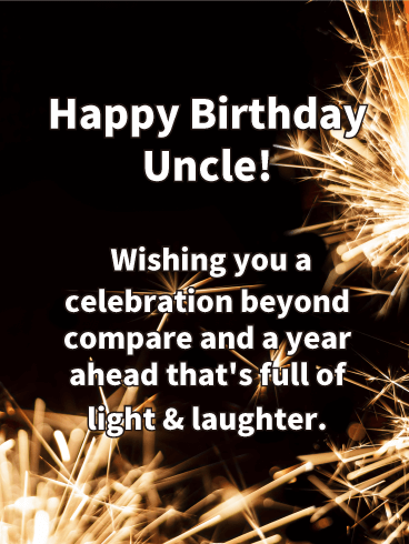 Golden Fireworks Happy Birthday Wishes Card For Uncle Birthday