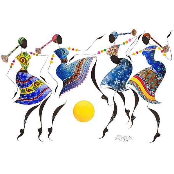"BIKUTSI II African Dancers 12""x18""(30,5cmX 45,5cm)Giclée Print,... ($40) ❤ liked on Polyvore featuring home, home decor, wall art, inspirational home decor, woman painting, african paintings, inspirational paintings and motivational paintings"
