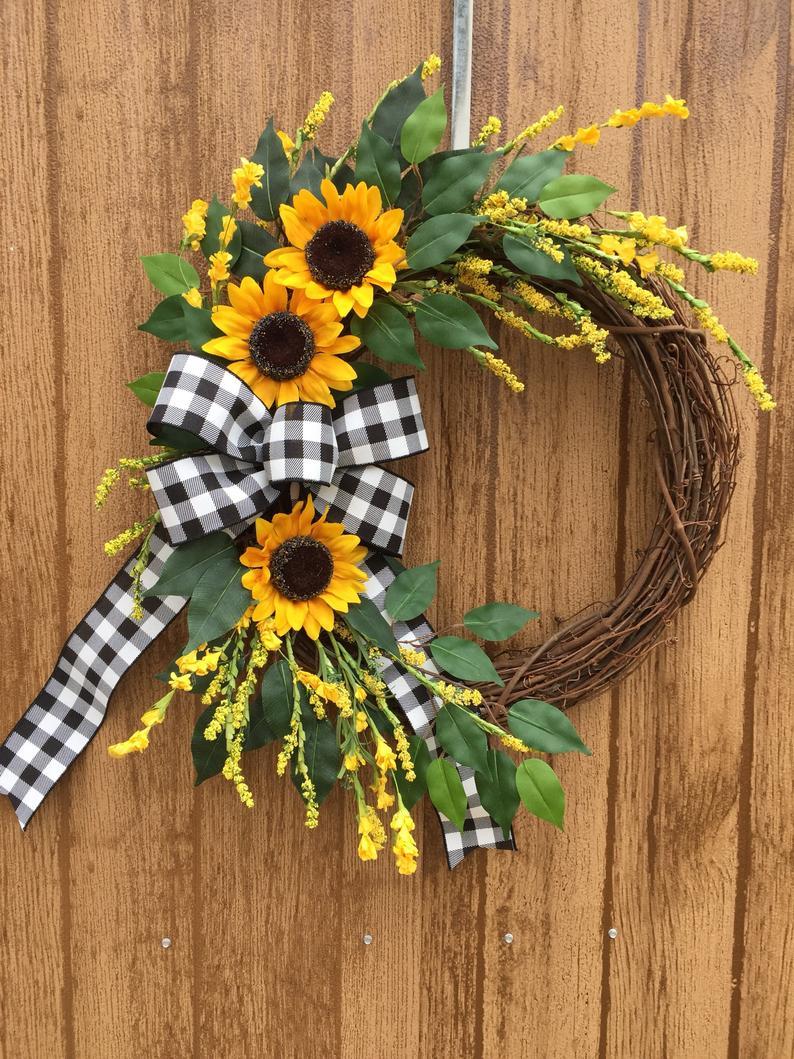 Photo of Sunflower wreath, peasant wreath, year-round wreath, summer wreath, spring farmhouse wreath, autumn wreath, Buffalo Check autumn wreath