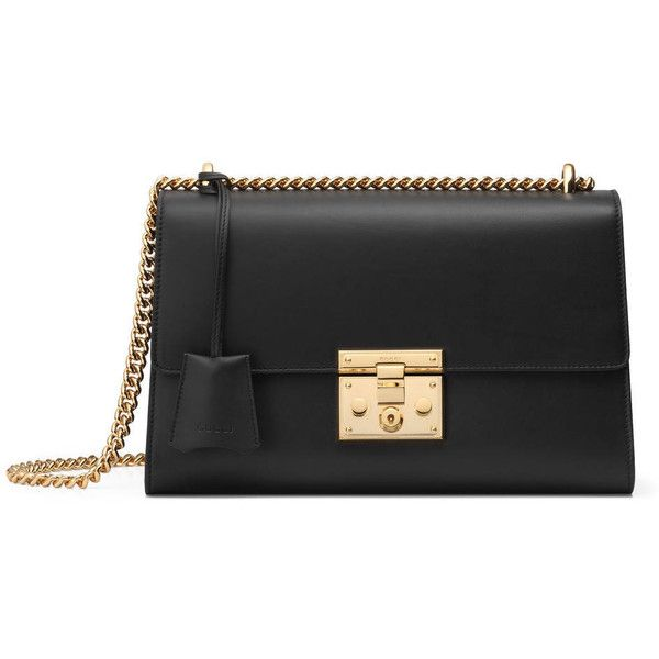 Gucci Padlock Leather Shoulder Bag ($1,940) ❤ liked on Polyvore featuring bags, handbags, shoulder bags, black, women, handbags purses, gucci shoulder bag, leather hand bags, gucci handbags and man bag