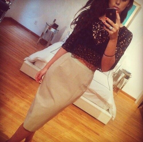 Lace crop top and Pencil Skirt