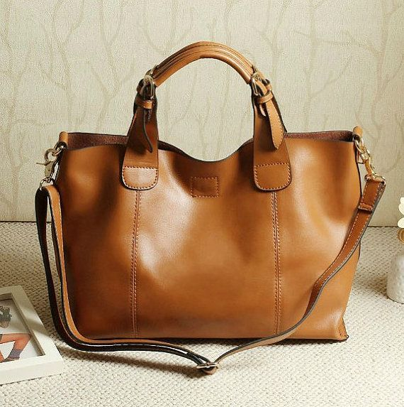 Brown Leather Tote Ping Bag Ipad Shoulder Woman