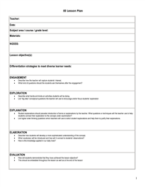 E Lesson Plan Template  Science Stuff    Lesson Plan