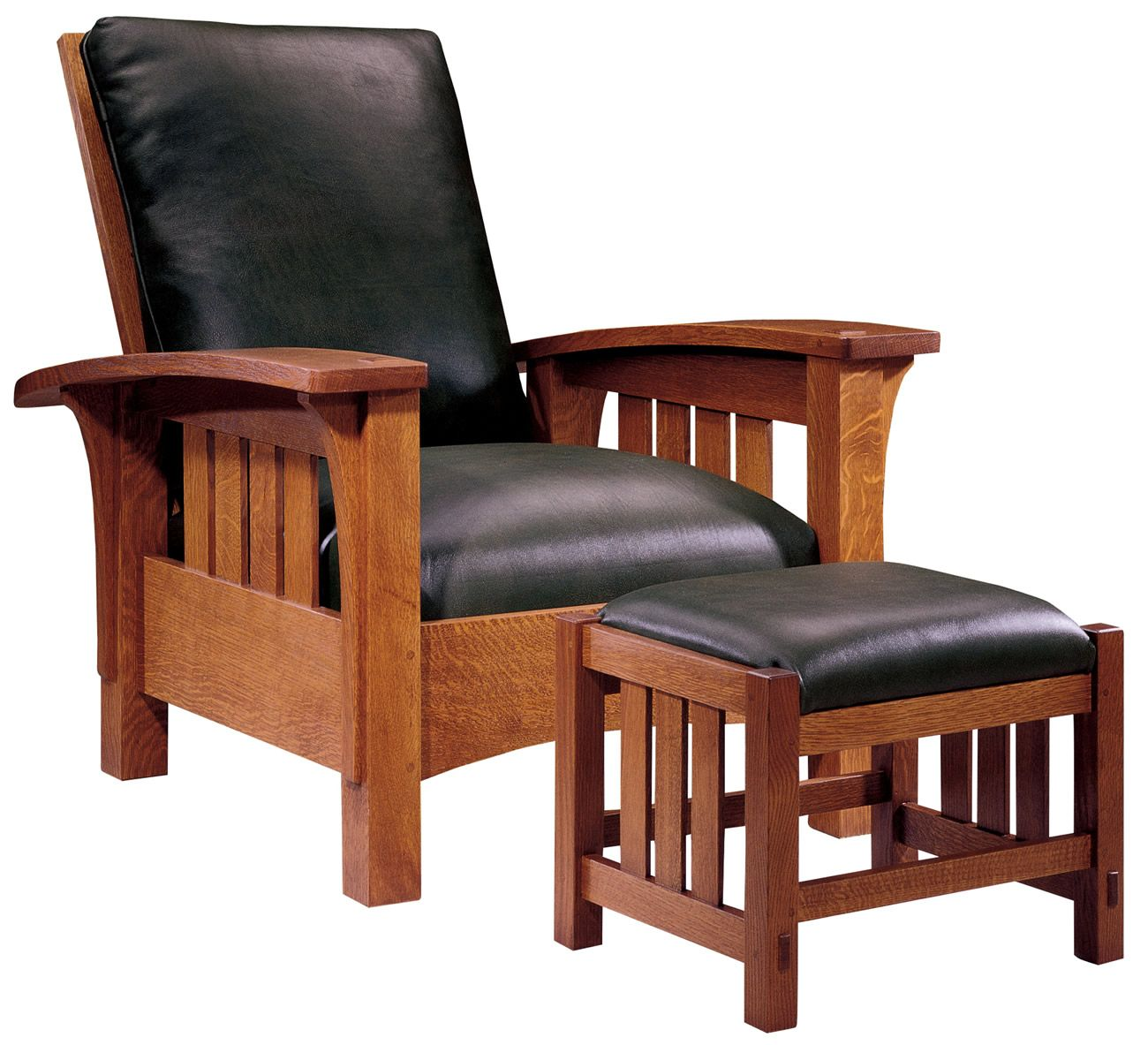 Modern wood chair with arms - Stickley Furniture Classic Bow Arm Morris Chair Ottoman