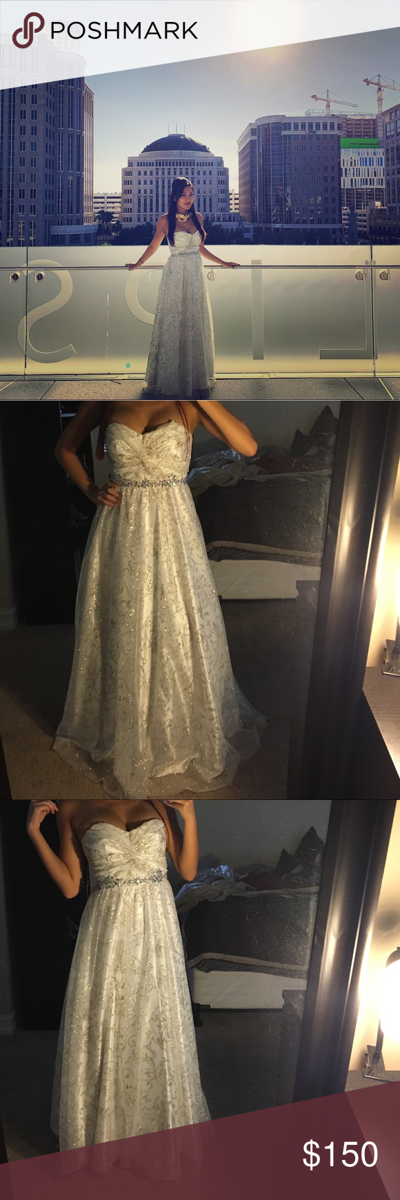 Masquerade Ball Gown Gorgeous strapless and shimmery ball gown. Ideal for a fancy event, gala, and/or prom. It has only been worn one time and in perfect condition! Masquerade Dresses Prom #masqueradeballgowns