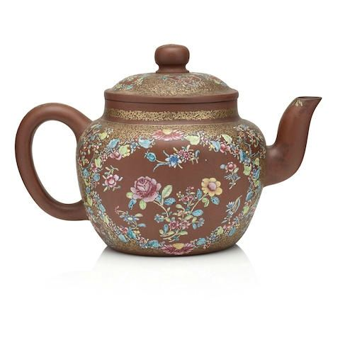 An unusual large enamelled yixing teapot and cover, circa 1820, signed Shao Yuanhua