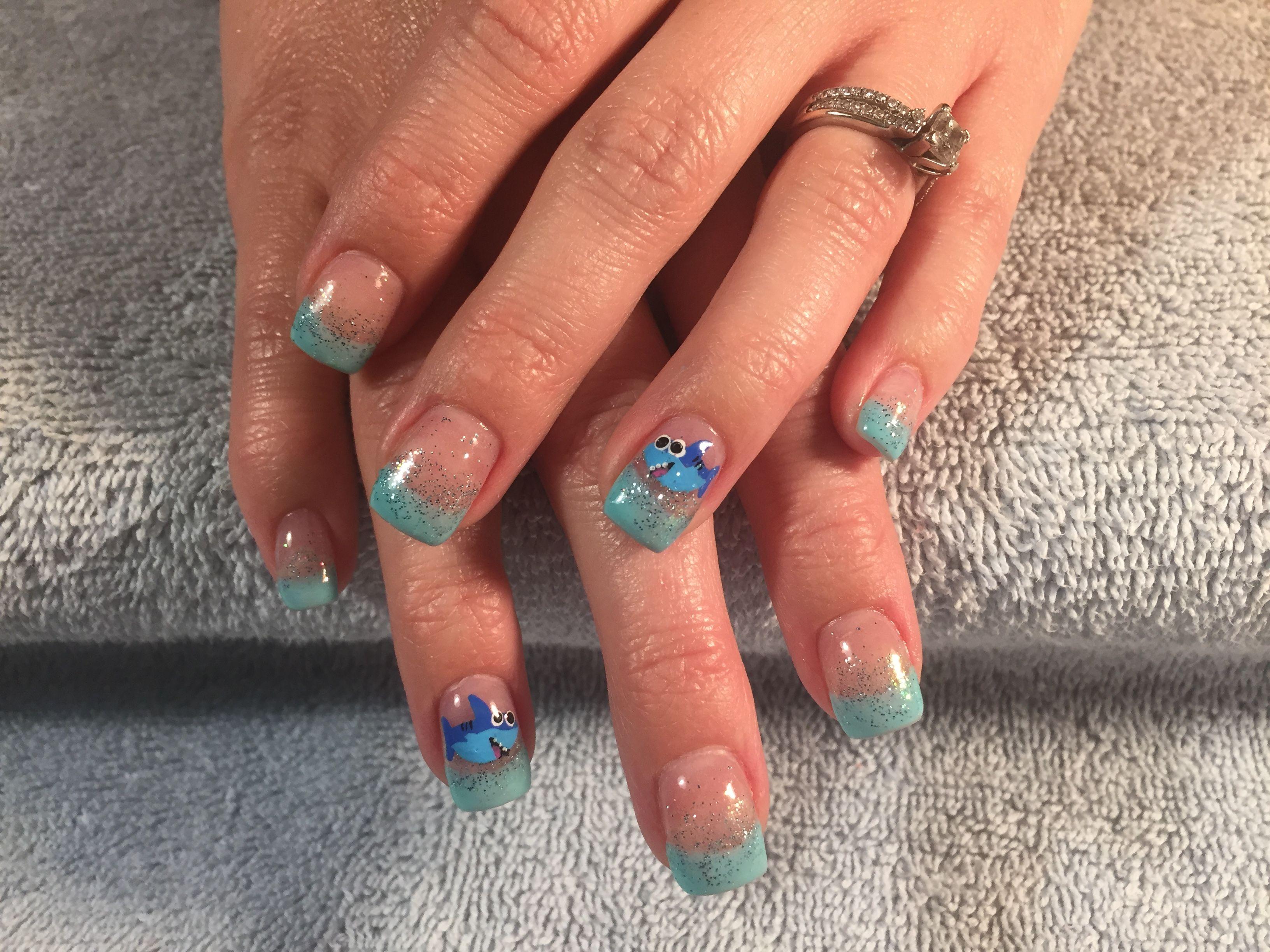 Baby Shark nail art | Amanda nail art | Pinterest | Baby shark