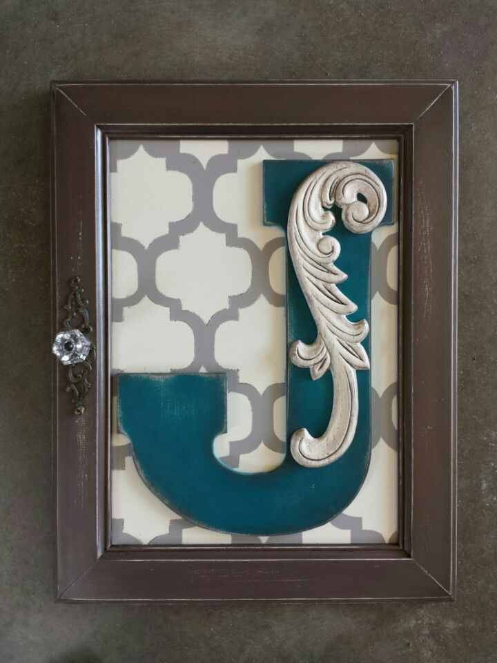 Monogram Wall Hanging From A Cabinet Door Made By