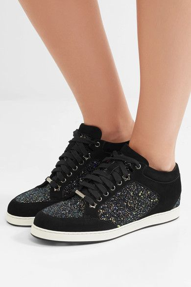 661fe06fc498 JIMMY CHOO Cool Miami glitter-paneled suede sneakers