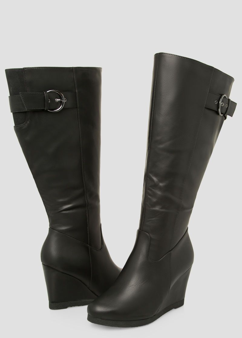 c52631de4c5 Buckle Tall Wedge Boot-Wide Calf Wide Width Buckle Tall Wedge Boot-Wide  Calf Wide Width