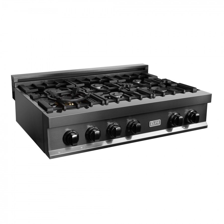 Zline 36 In Porcelain Rangetop In Black Stainless With 6 Gas Burners Rtb 36 In 2020 Gas Cooktop Gas Burners Cooktop