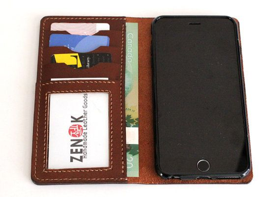 Hand Stitched iPhone 6 PLUS Leather Wallet with Clear id Window and silicone case in MILK CHOCOLATE