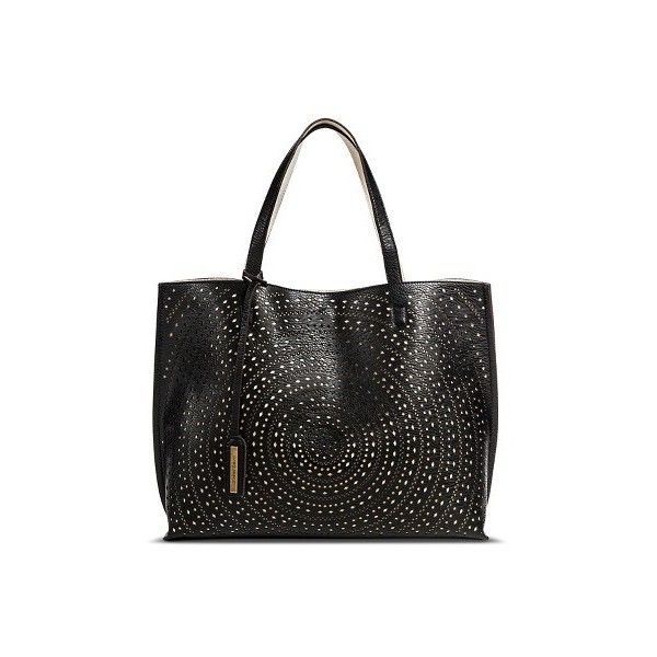 Women S Perforated Reversible Tote Handbag Black White Street Level 34 Liked