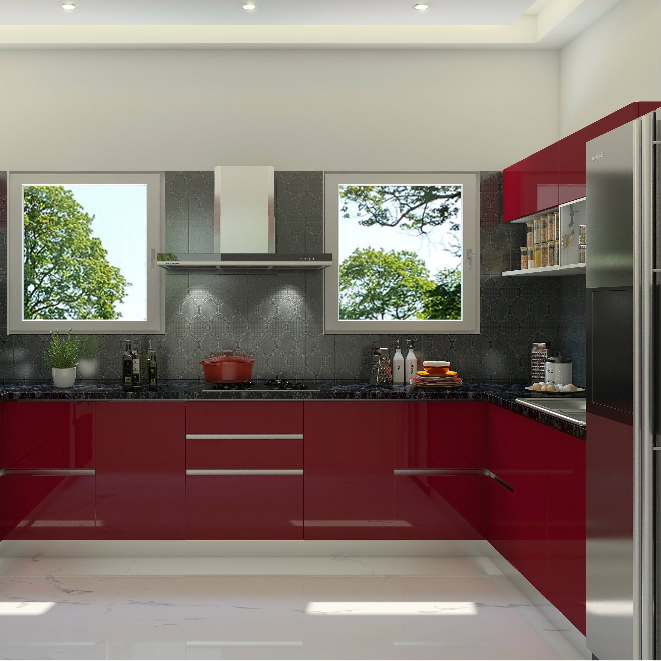Glossy kitchen design, sleek finish, red and grey combination ...