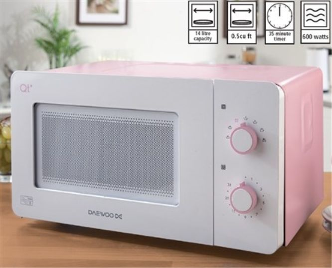 Daewoo Qt3 Pink Compact Microwave 14 Litre 600w Ideal For Caravan Office