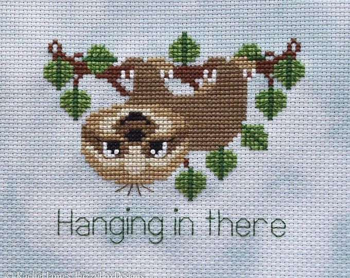Sloth cross stitch pattern PDF. Funny small jungle crossstitch chart. My spirit animal xstitch quote