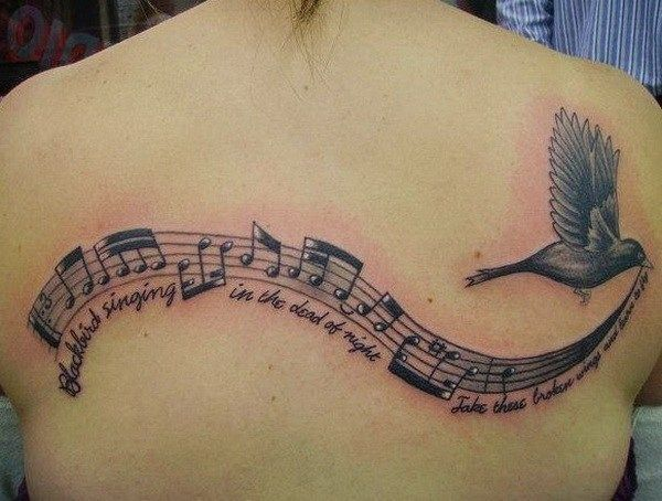 Music Notes and Lyrics with a Bird is Flying Tattoo On Back. #style #shopping #styles #outfit #pretty #girl #girls #beauty #beautiful #me #cute #stylish #photooftheday #swag #dress #shoes #diy #design #fashion #Tattoo