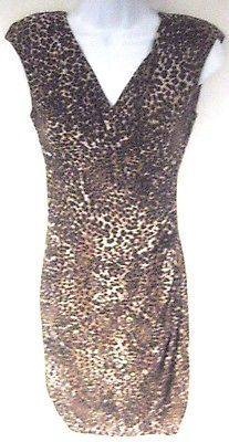 American Living Dress Brown Leopard Print Size 4 Sleeveless V-Neck