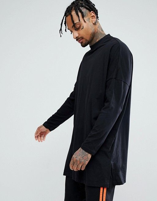 Extreme Oversized Super Longline T-Shirt With Side Splits In Black - Black Asos Sale 2018 New Sale 2018 New Discount Looking For Cheap Sale Visit New Discount Huge Surprise ppENeAqf8K