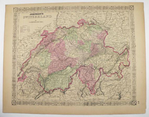 Original Vintage Map Switzerland,, Swiss Alps Mountains 1867 ...