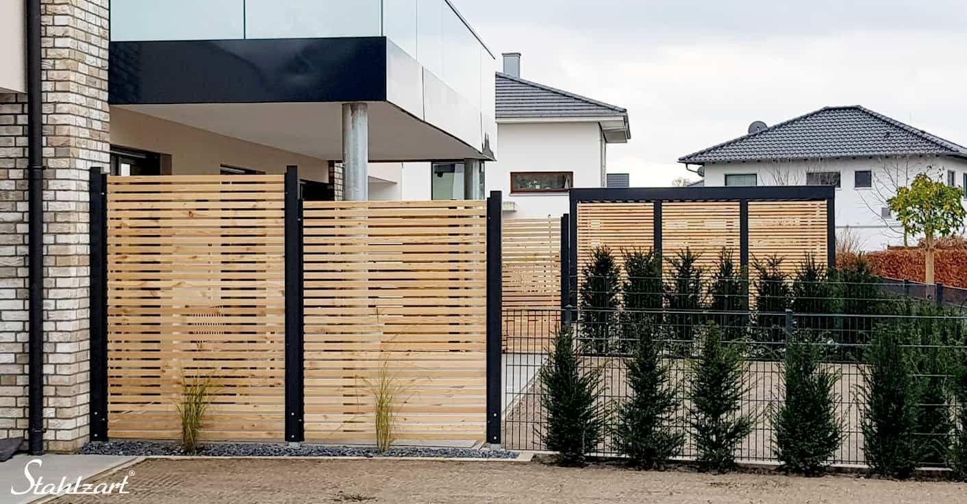 Sichtschutzzaun Holz Larche Metall Anthrazit Modern Stahl