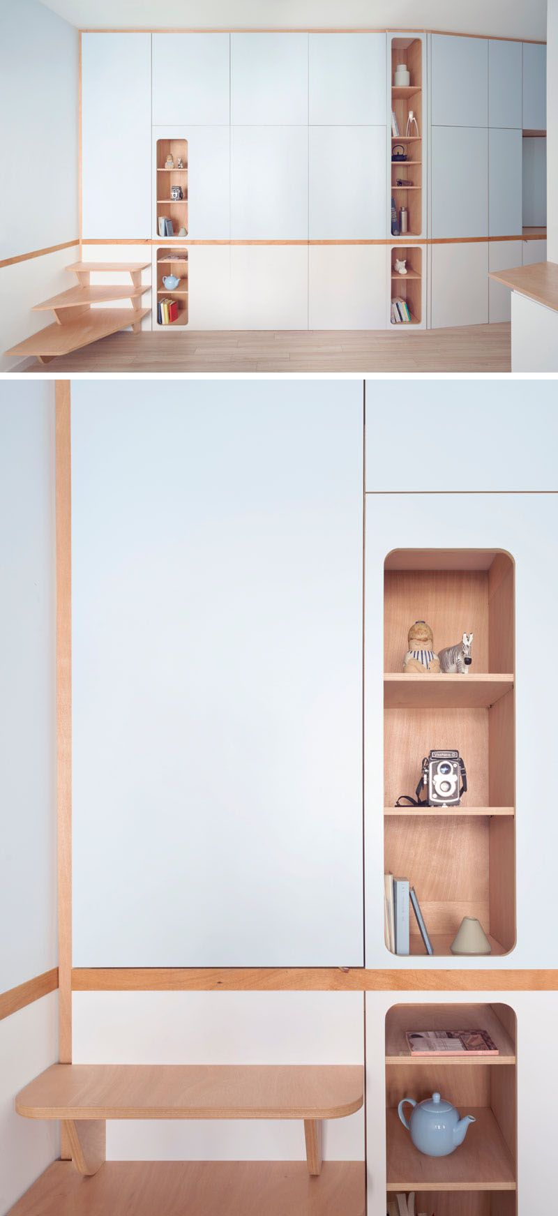 A Custom Wall Unit In This Small Apartment Makes It Possible To  # Muebles Zurich San Luis Potosi
