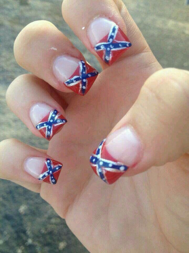 Confederate flag nails nails pinterest flag nails mani pedi confederate flag nails prinsesfo Gallery