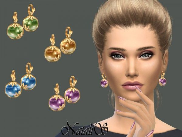 The Sims Resource: Leafs and cabochon earrings by NataliS • Sims 4 Downloads