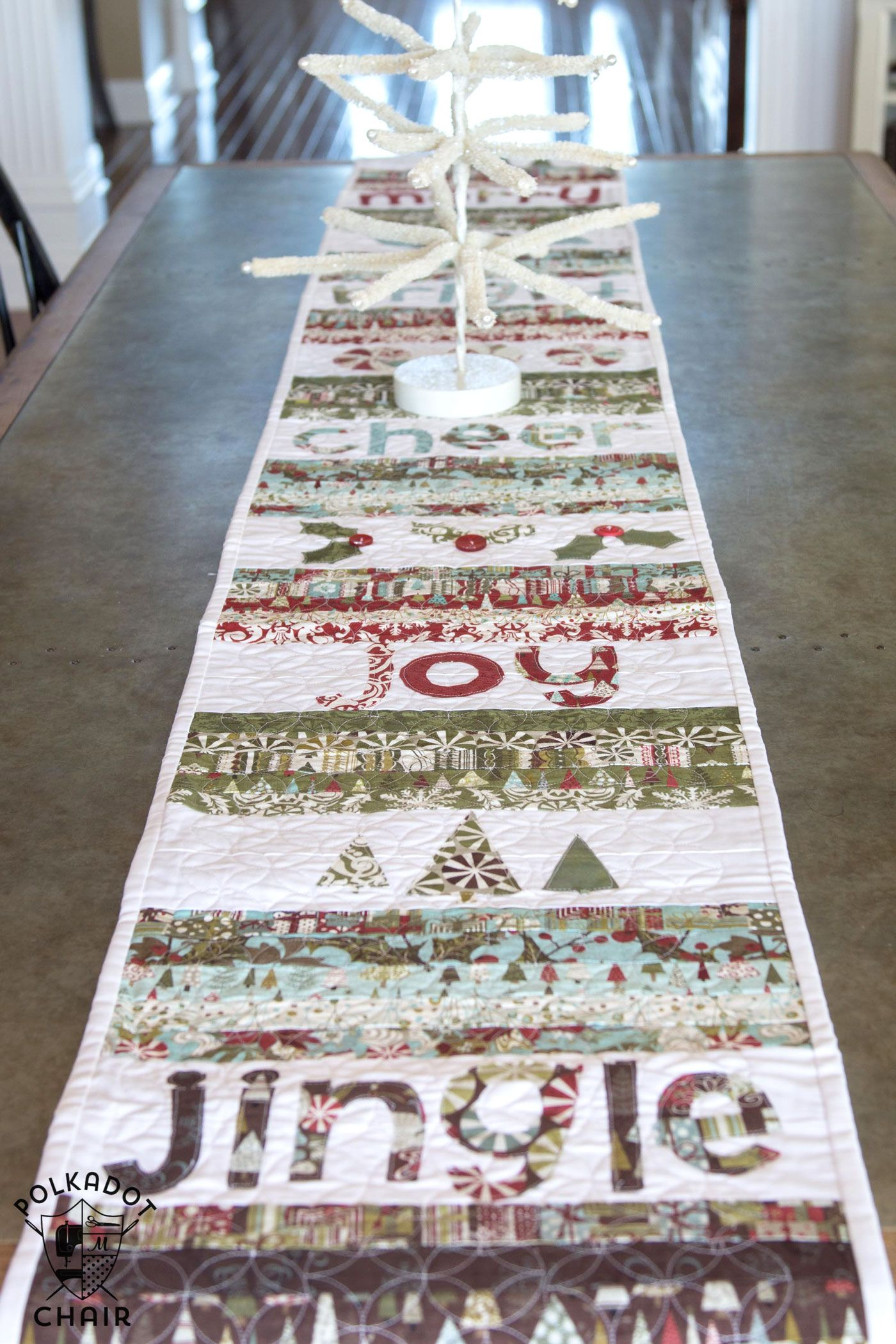 Merry Cheer Quilted Christmas Table Runner Pattern The Polka Dot Chair Christmas Table Runner Pattern Christmas Table Runner Christmas Runner