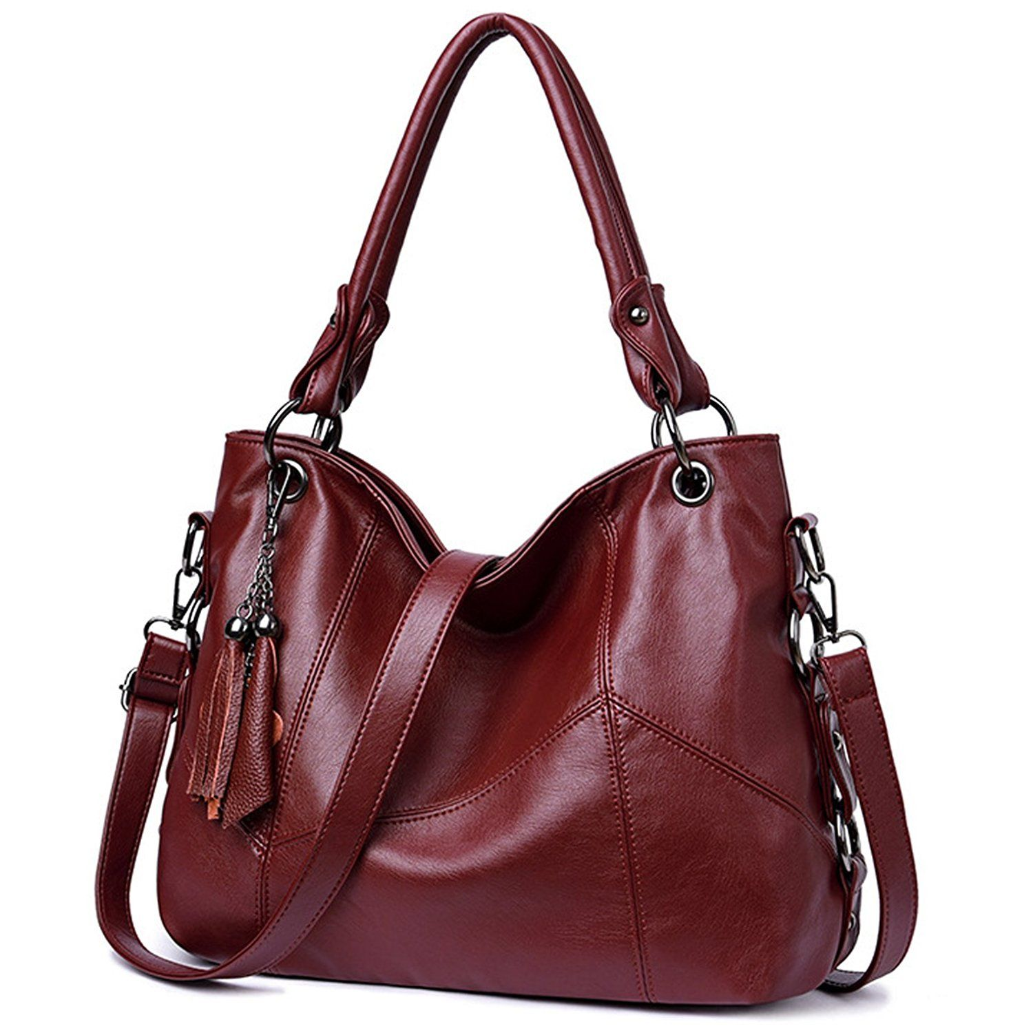 Lustear Soft Leather Handbag Hobo Style Purse Tote Shoulder Bag With Tassel For Women
