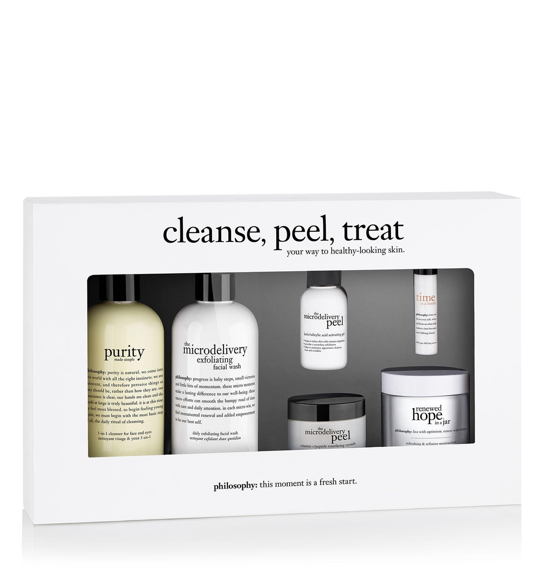 Cleanse Peel Treat Kit Skincare Set Face Wash Cleanser Skin Care Cleanser Skincare Set
