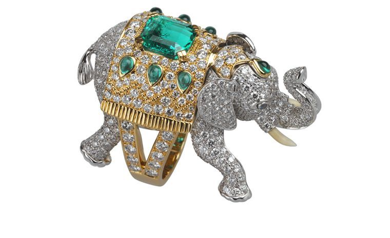 2399aa0a0cd463 BOUCHERON. Hathi ring. White and yellow gold, emeralds, diamonds and  sapphires. Price from £68,500.