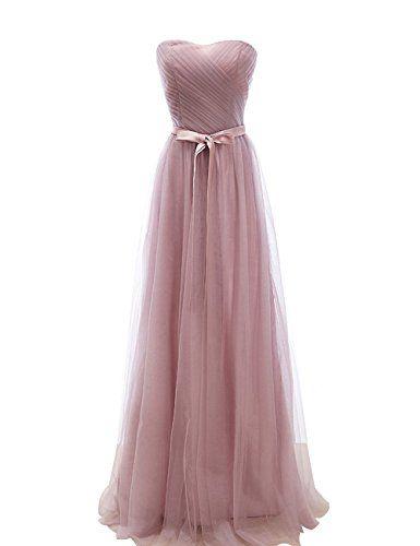 Schlichtes Schulterloses Brautjungfernkleid In Altrosa Als Akzent Die Schleife Brautjungfernkleid Trauzeugin Kleid Langes Abendkleid
