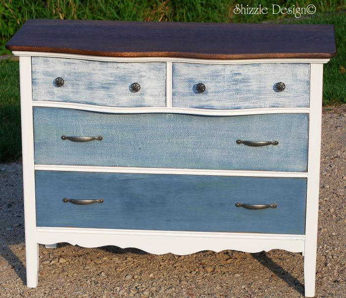 Antique Dresser Painted in Alaskan Tundra Green, Maine Harbor Blue & Simply  White by CeCe - Antique Dresser Painted In Alaskan Tundra Green, Maine Harbor Blue