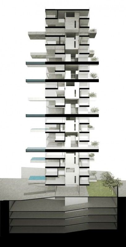 Architizer Blog » Conceptual Condo Tower Features Cantilevered Pools On Every Other Floor