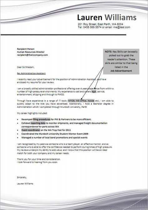 Job Cover Letter Sample  Ambition    Job Cover Letter