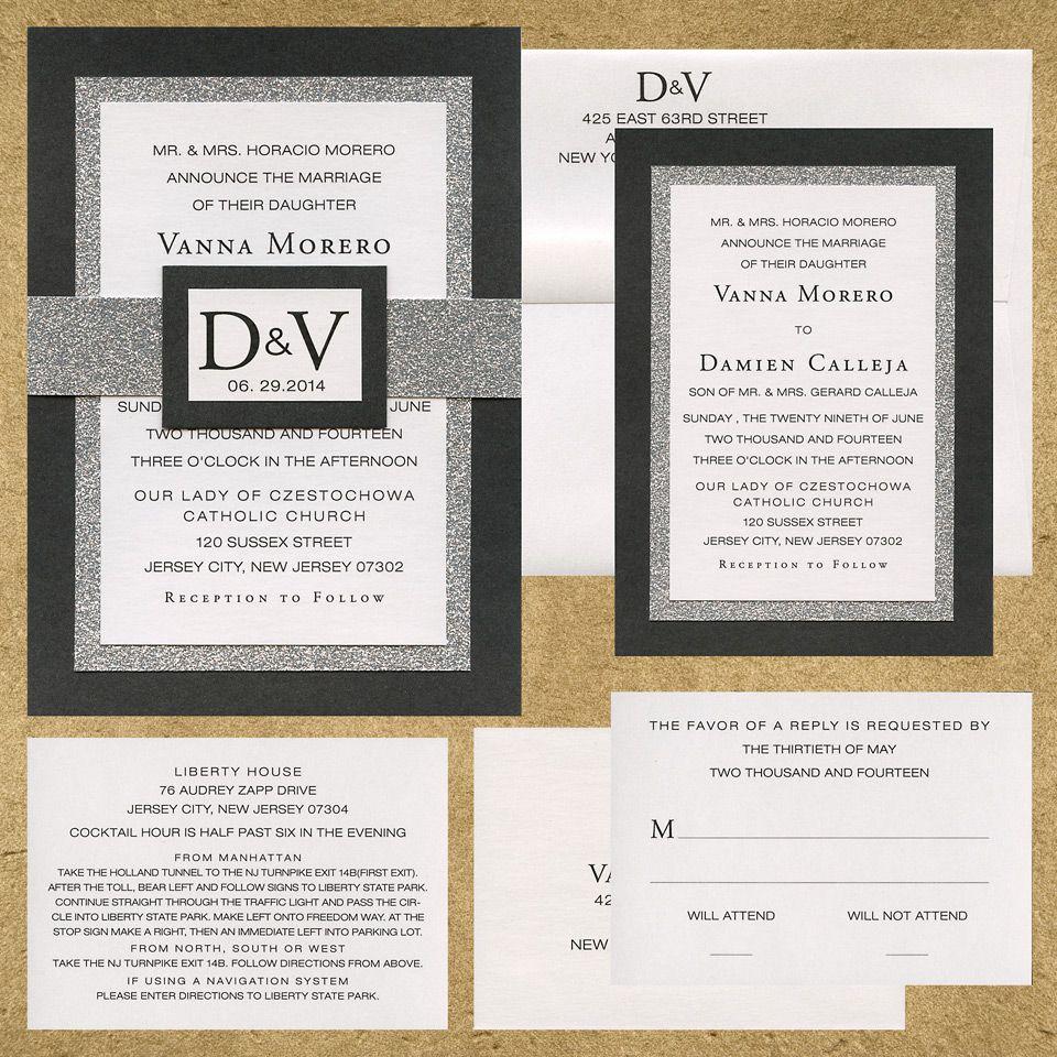 Three Layer Flat Back Wedding Invitation Black Matte Linen Paper Silver Textured Sparkle