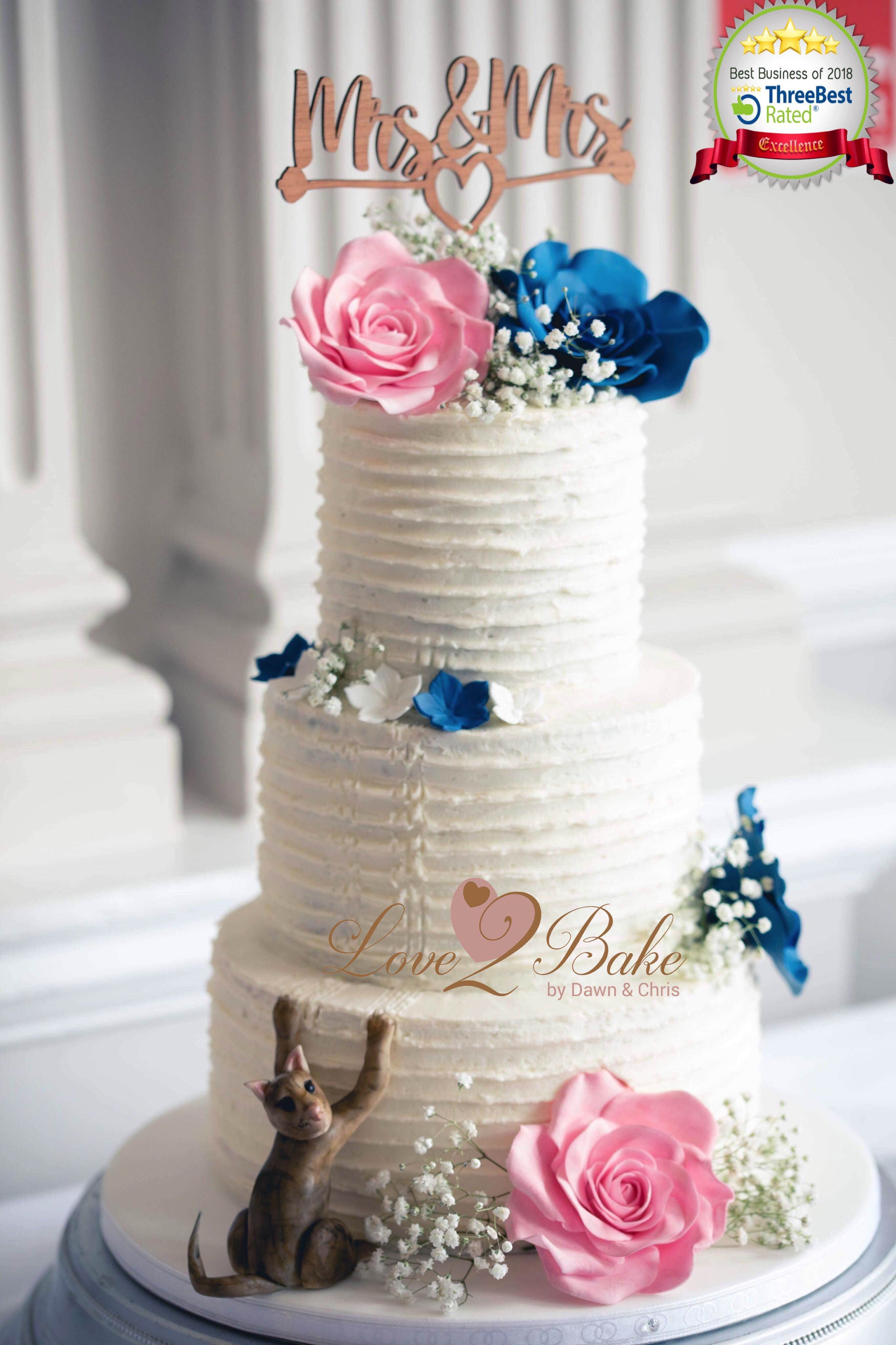 Fushia pink and Kadbury blue rose wedding cake by ... |Pink And Blue Wedding Cakes