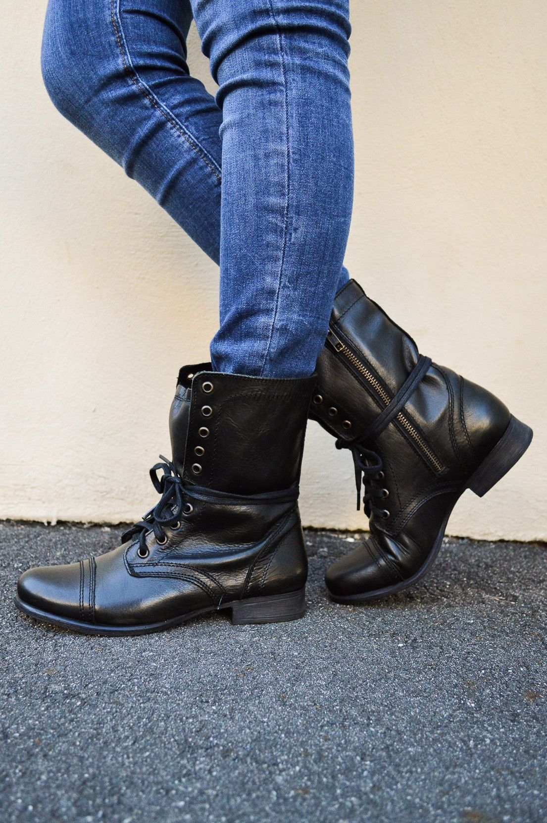 3854482e060 Black leather Steve Madden Troopa Combat boot | Shoes | Boots ...